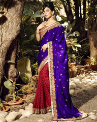 Red & Purple Color Crepe Festival & Function Sarees : Rangreet Collection  YF-27872