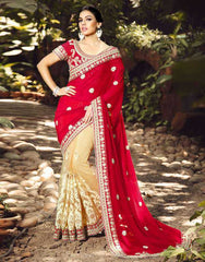 Light Coffee & Red Color Half Net & Half Georgette Festival & Function Sarees : Rangreet Collection  YF-27873