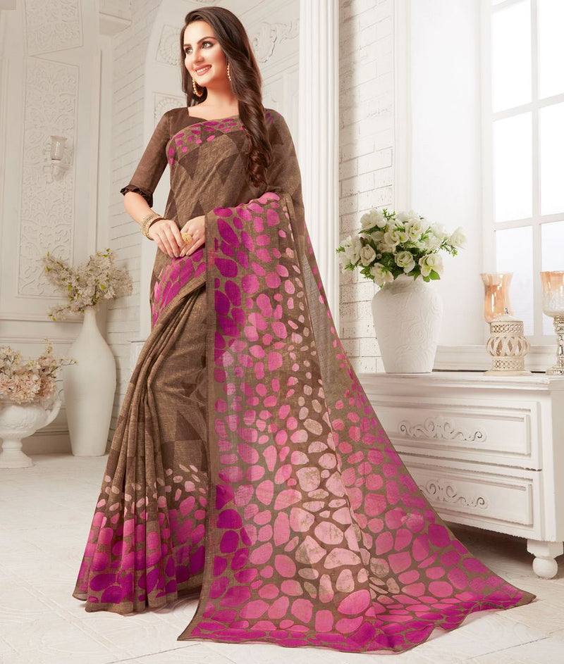 Brown Color Crepe Georgette Party Wear Sarees : Sarankhi Collection  NYF-3265 - YellowFashion.in