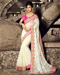 Off White & Pink Color Net Festival & Function Sarees : Rangreet Collection  YF-27874