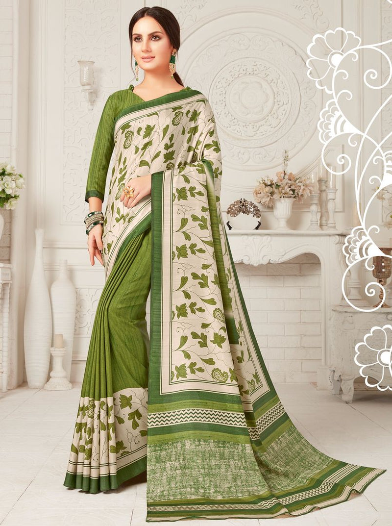 Green & White Color Crepe Georgette Party Wear Sarees : Sarankhi Collection  NYF-3266 - YellowFashion.in