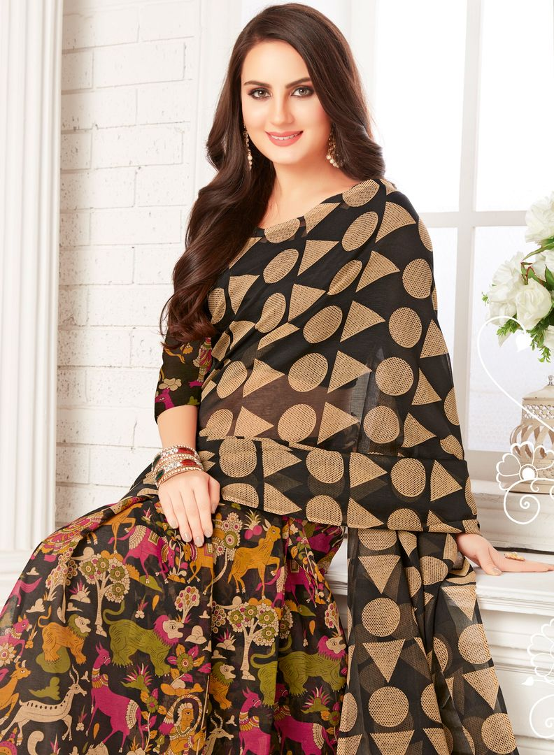 Black Color Crepe Georgette Party Wear Sarees : Sarankhi Collection  NYF-3268 - YellowFashion.in