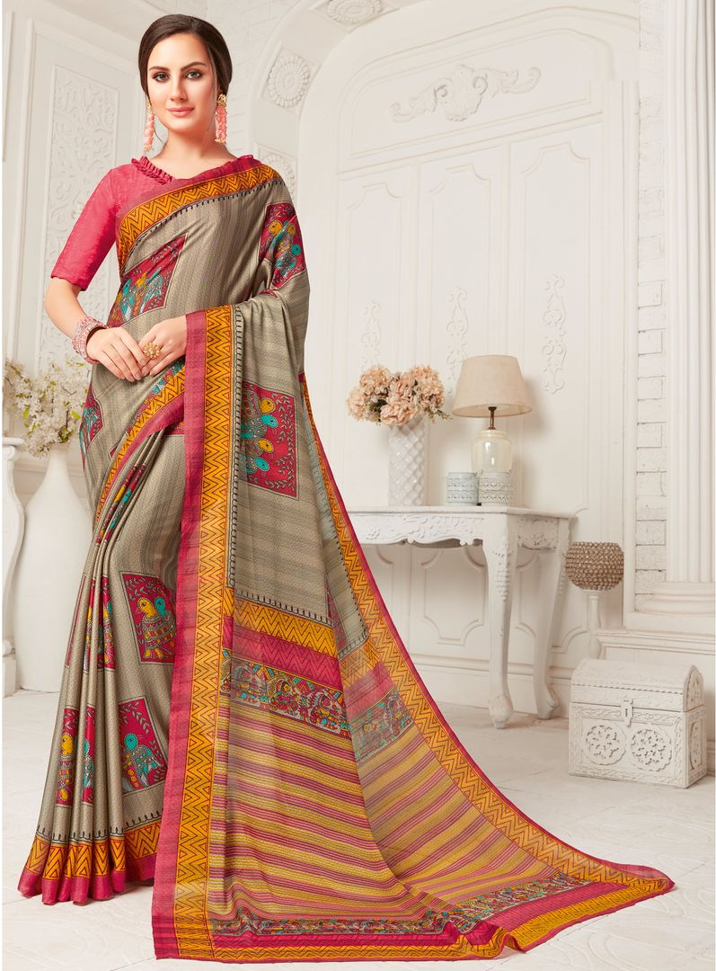 Mud Color Crepe Georgette Party Wear Sarees : Sarankhi Collection  NYF-3269 - YellowFashion.in