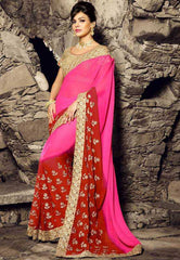 Pink & Red Color Wrinkle Chiffon Festival & Function Sarees : Rangreet Collection  YF-27877