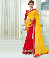 Yellow & Red Color Chiffon Party Wear Sarees : Pinati Collection  NYF-3388