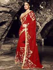 Red Color Georgette Festival & Function Sarees : Rangreet Collection  YF-27879