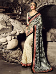 Cream & Black Color Half Net & Half Georgette Festival & Function Sarees : Rangreet Collection  YF-27880