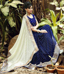 White & Blue Color Half Georgette & Half Brasso Festival & Function Sarees : Rangreet Collection  YF-27882
