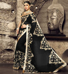 Black Color Georgette Festival & Function Sarees : Rangreet Collection  YF-27884