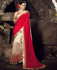 Red Color Half Bhagalpuri & Half Crepe Festival & Function Sarees : Rangreet Collection  YF-27885