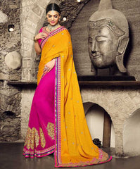 Pink & Yellow Color Georgette Festival & Function Sarees : Rangreet Collection  YF-27886