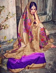 Chikoo & Purple Color Bhagalpuri Casual Wear Sarees : Kuhu Collection  YF-33120