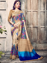 Chikoo & Blue Color Bhagalpuri Casual Wear Sarees : Kuhu Collection  YF-33121