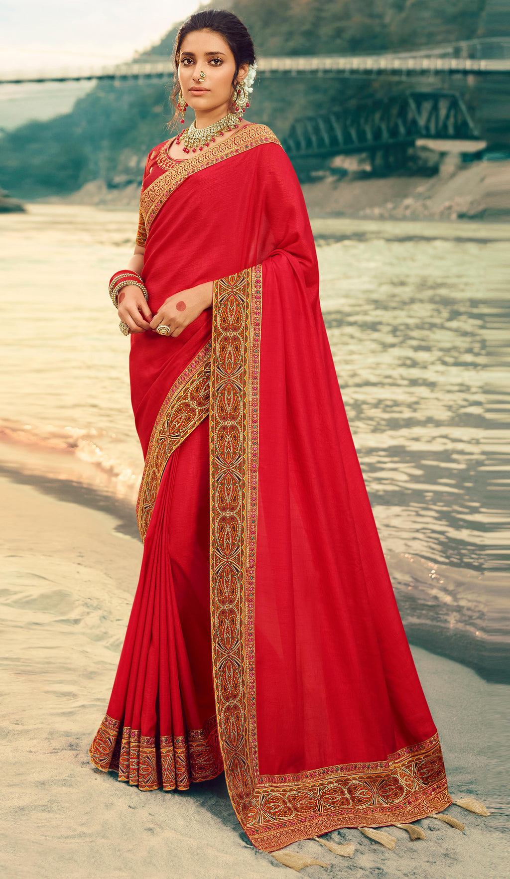 Red Color Dola Silk Plain Sarees With Heavy Border NYF-9575