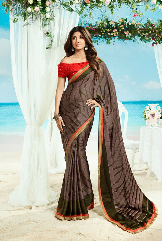 Chocolate Brown and Green Color Unique Fancy Fabric Party Wear Saree-  Gracia Collection YF#10674