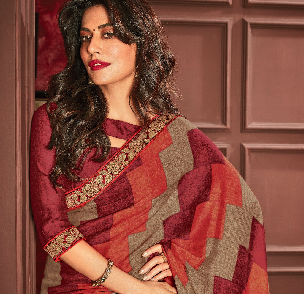Multi Color Crepe Georgette Printed Sarees For Casual Parties NYF-6377