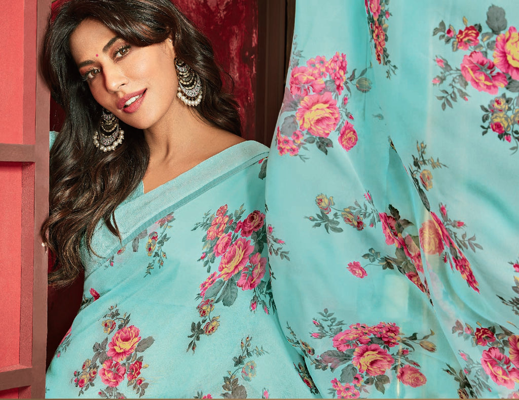 Aqua Green Color Georgette Printed Sarees For Casual Parties NYF-6378