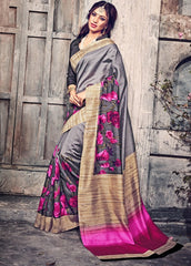 Grey Color Bhagalpuri Casual Wear Sarees : Kuhu Collection  YF-33124