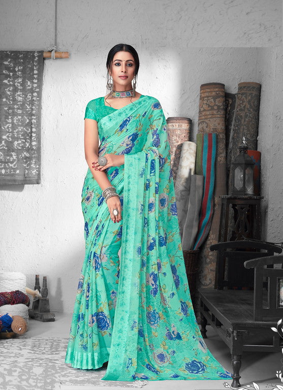 Blue Color Chiffon Satin Border Casual Wear saree -  Sejal Collection YF#10208