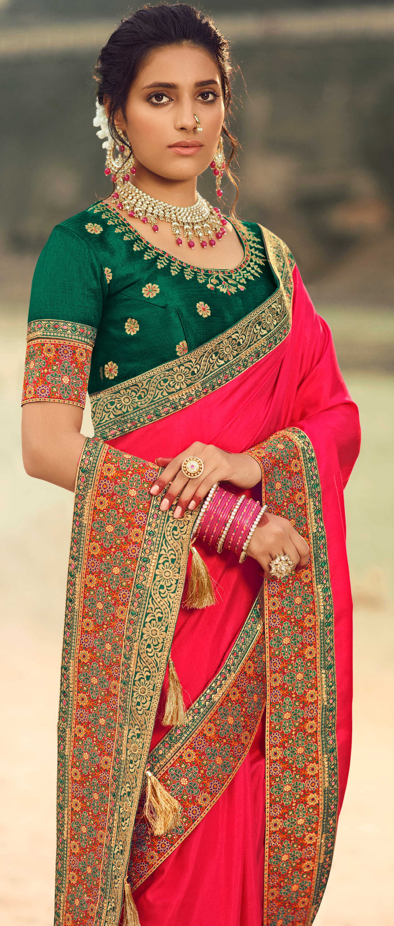 Pink Color Dola Silk Plain Sarees With Heavy Border NYF-9578