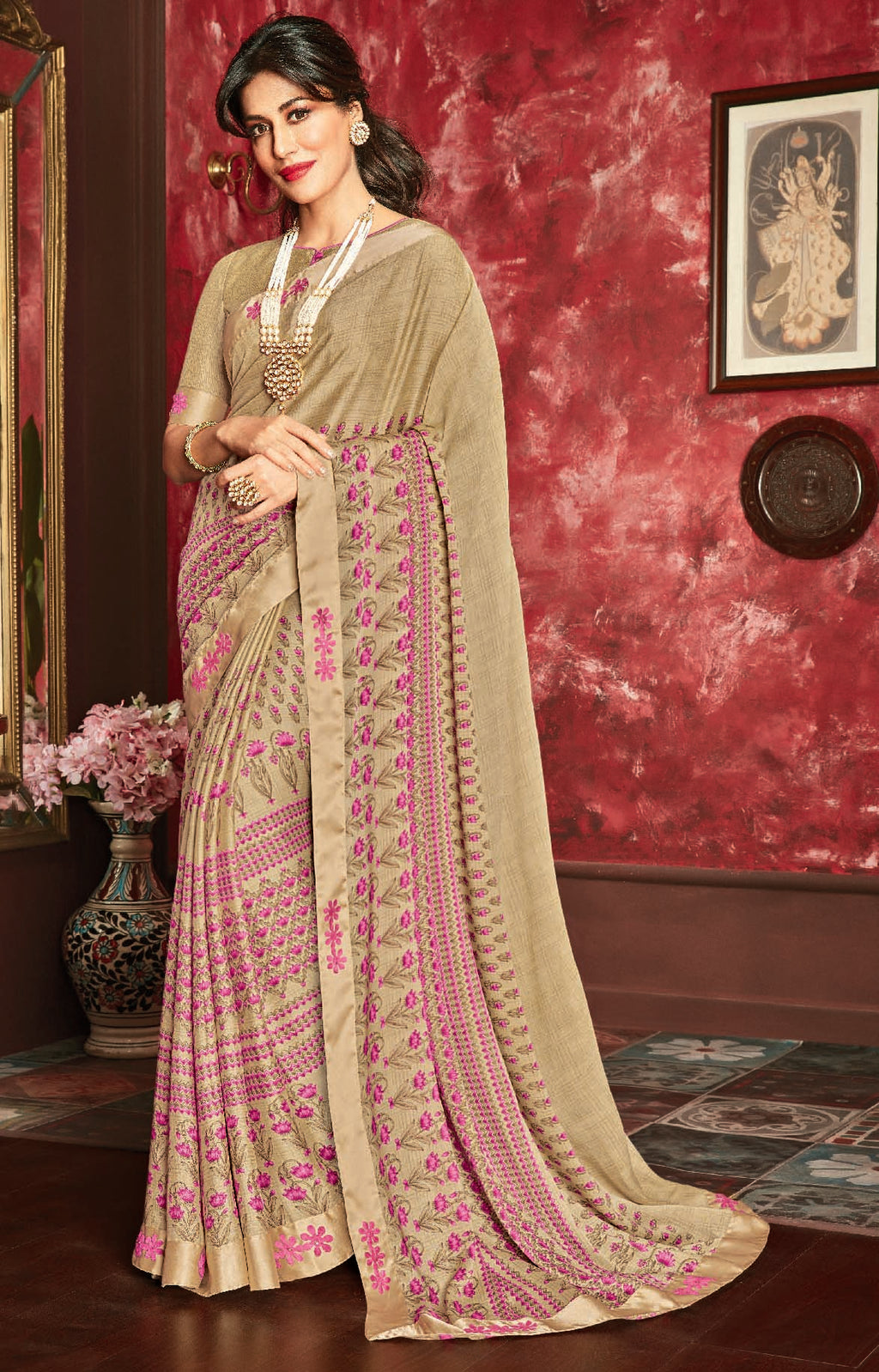 Beige Color Crepe Silk Casual Party Sarees : Talikha Collection  NYF-3114 - YellowFashion.in