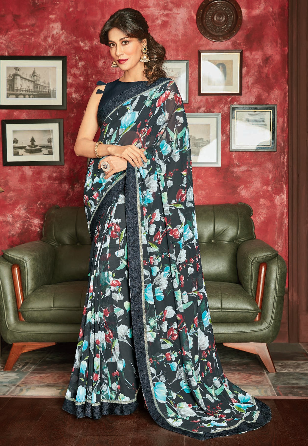 Blue Color Georgette Printed Sarees For Casual Parties NYF-6379