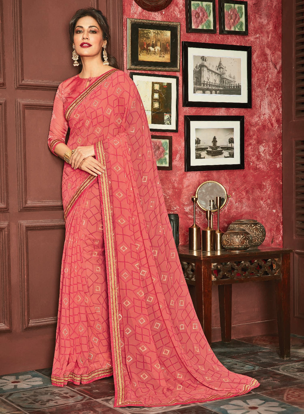 Pink Color Georgette Printed Sarees For Casual Parties NYF-6380