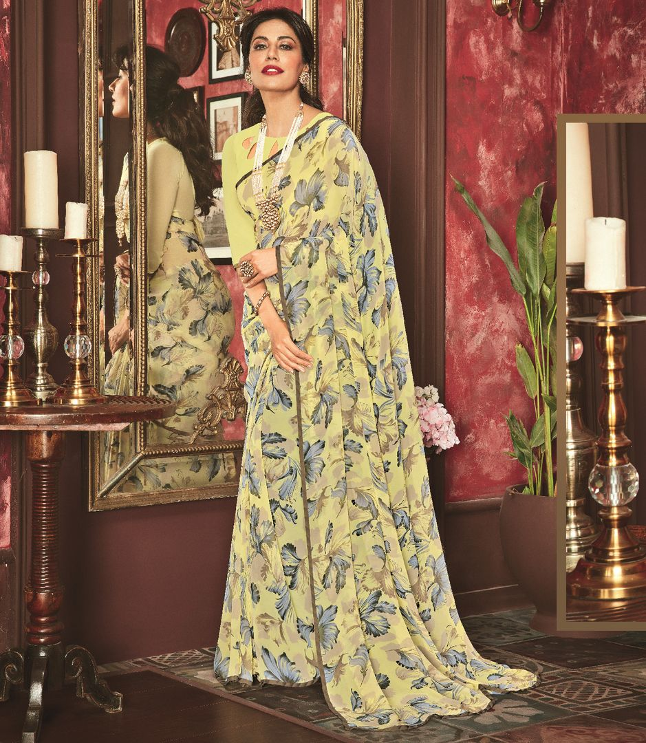 Light Yellow Color Chiffon Casual Party Sarees : Talikha Collection  NYF-2792 - YellowFashion.in