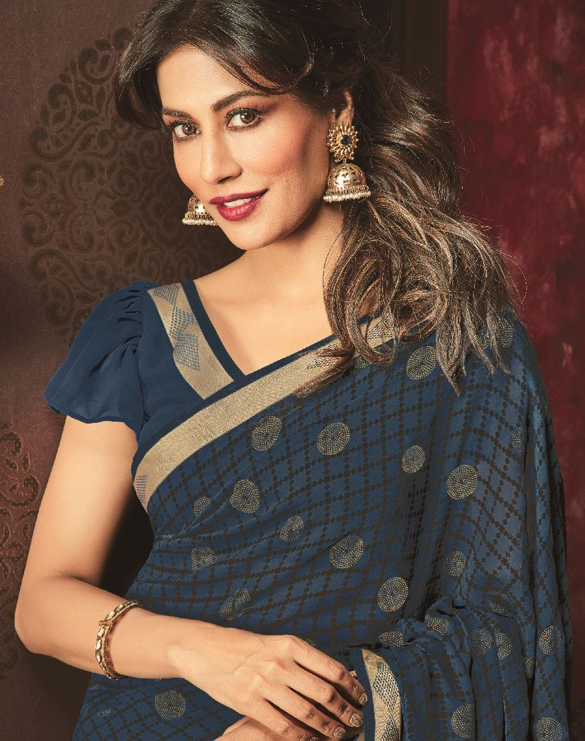 Blue Color Chiffon Casual Party Sarees : Talikha Collection  NYF-2793 - YellowFashion.in