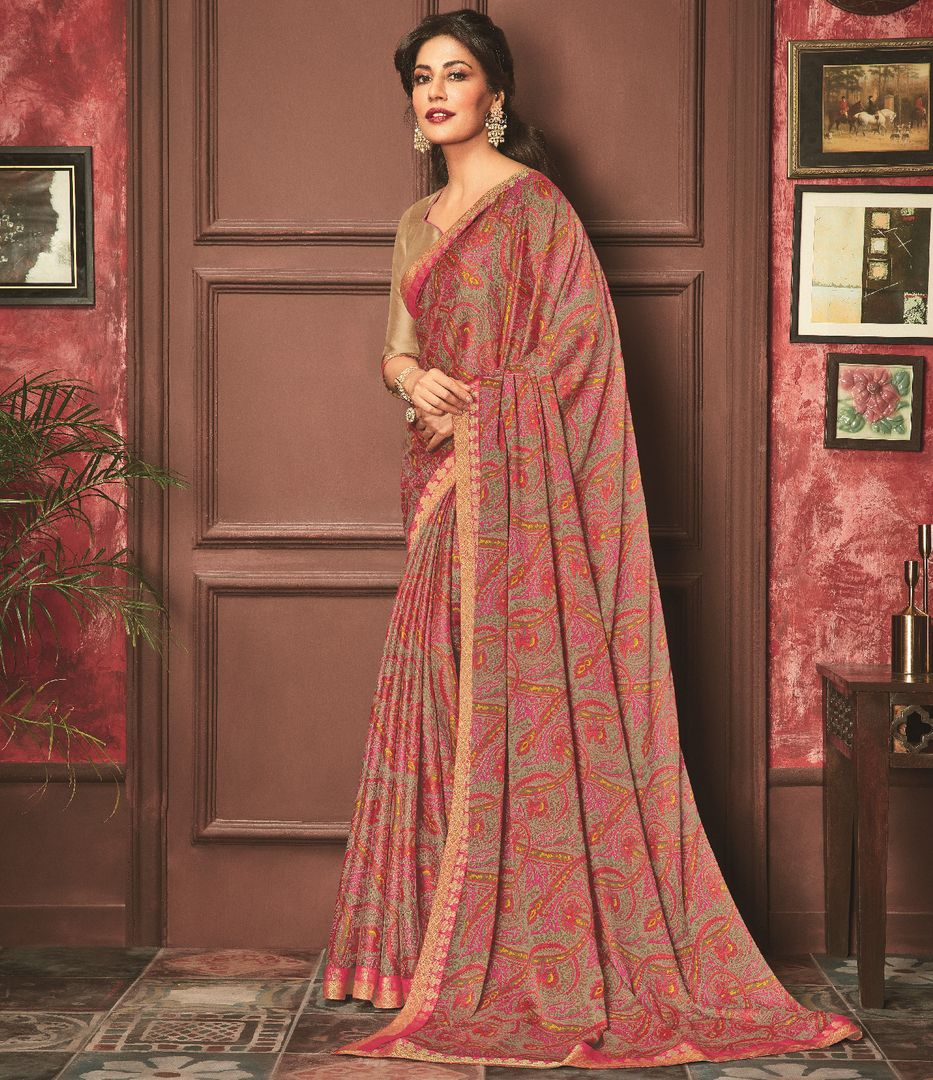 Multi Color Crepe Silk Casual Party Sarees : Talikha Collection  NYF-2794 - YellowFashion.in