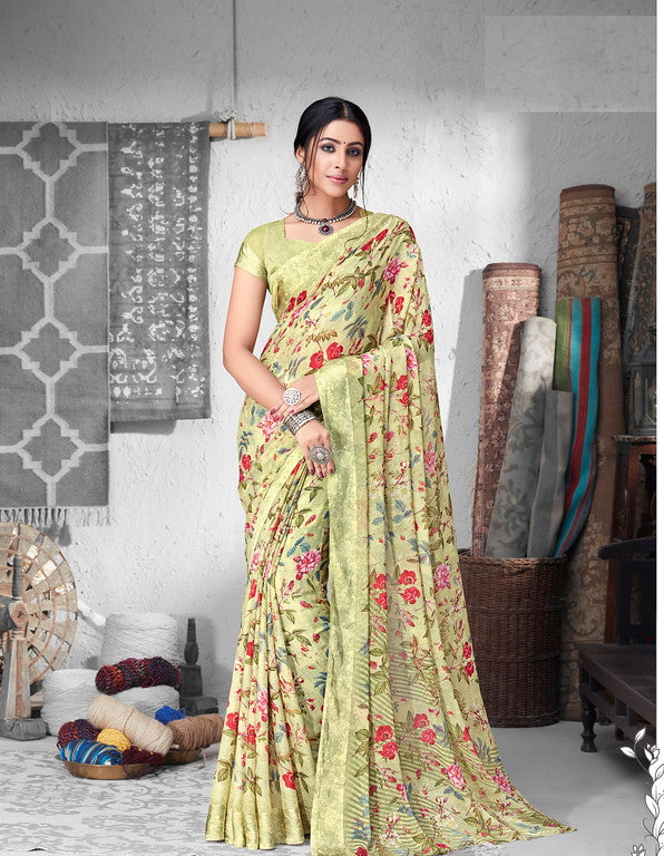 Pista Green Color Chiffon Satin Border Casual Wear saree -  Sejal Collection YF#10210