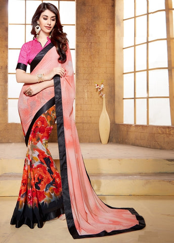 Pink, Peach & Orange Color Georgette Casual Party Wear Sarees : Vaibhavi Collection  YF-38300