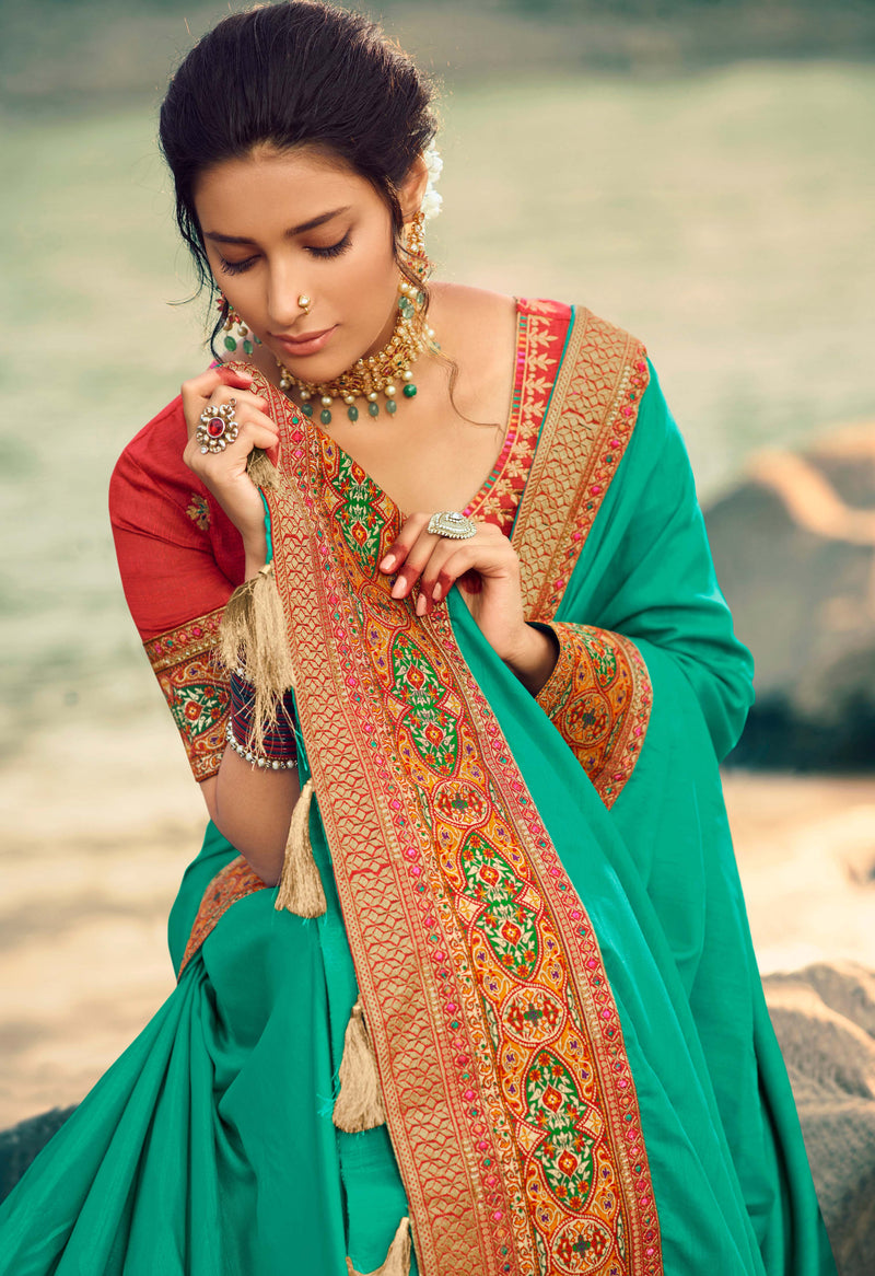 Sea Green Color Dola Silk Plain Sarees With Heavy Border NYF-9579
