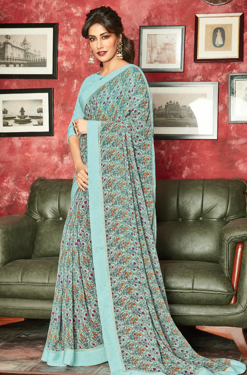 Aqua Green Color Georgette Printed Sarees For Casual Parties NYF-6383