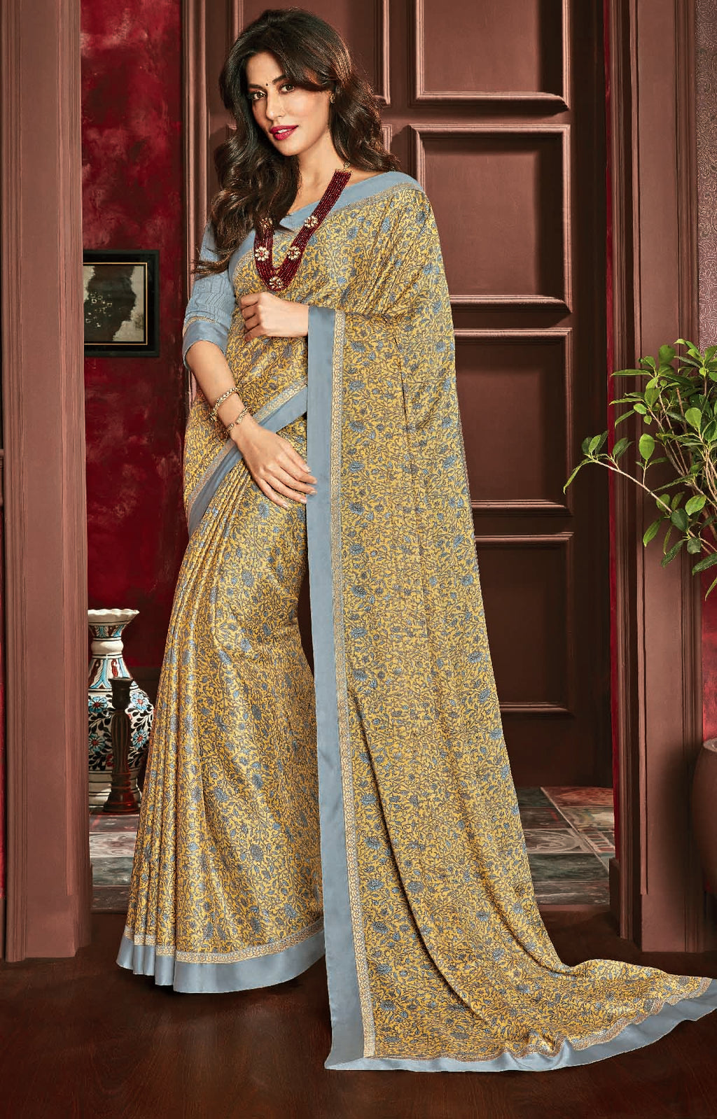 Light Yellow Color Crepe Silk Casual Party Sarees : Talikha Collection  NYF-3118 - YellowFashion.in