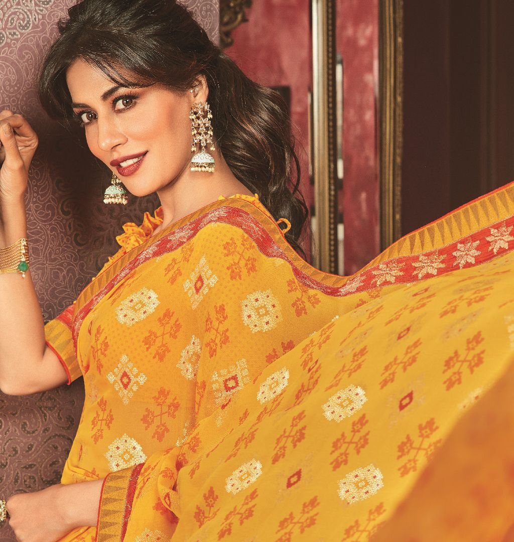 Yellow Color Crepe Silk Casual Party Sarees : Talikha Collection  NYF-2797 - YellowFashion.in