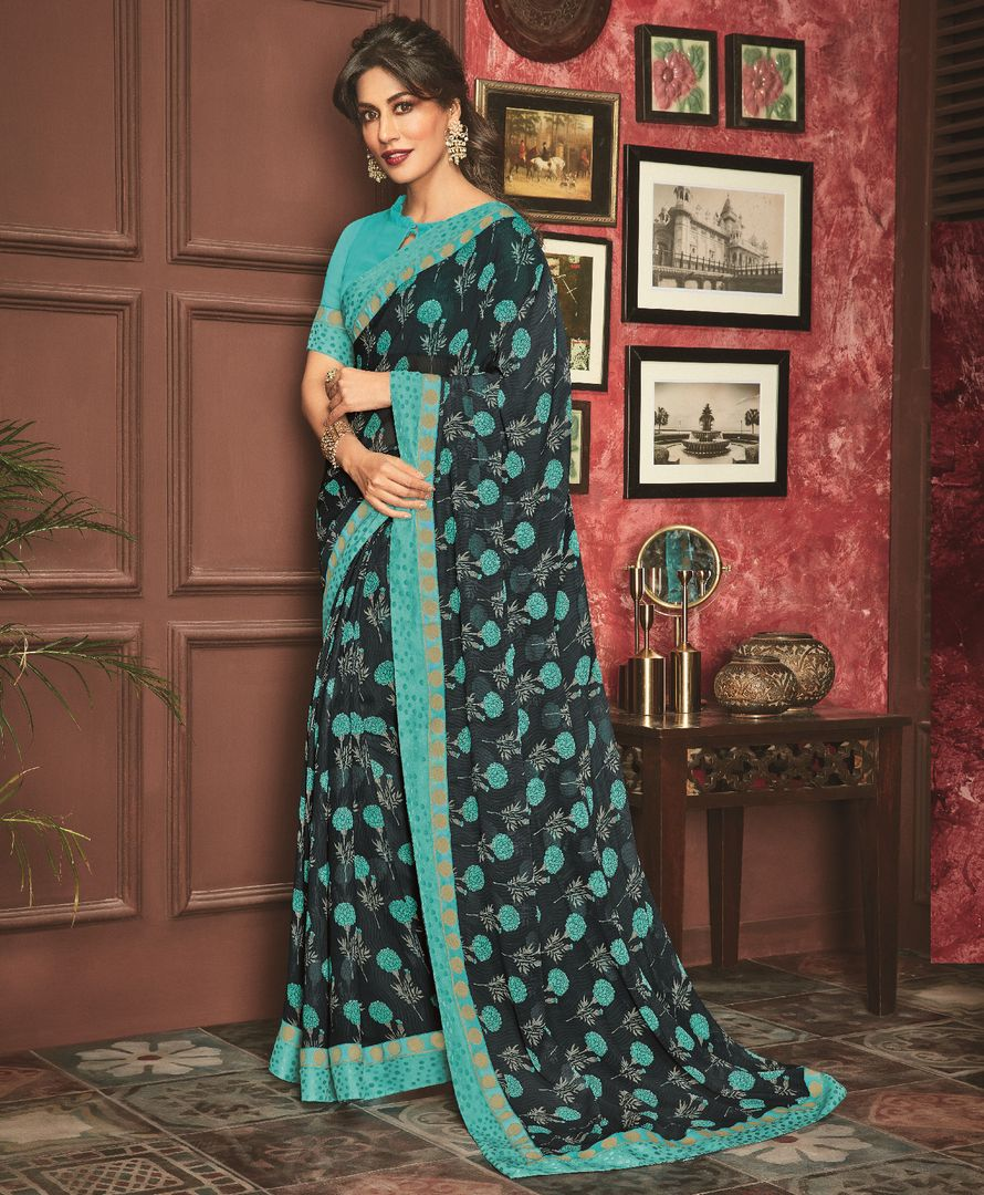 Blue Color Georgette Casual Party Sarees : Talikha Collection  NYF-2798 - YellowFashion.in