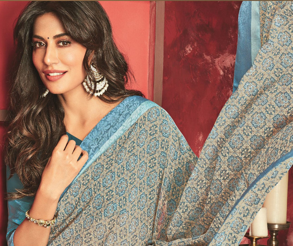 Grey Color Chiffon Casual Party Sarees : Talikha Collection  NYF-2800 - YellowFashion.in