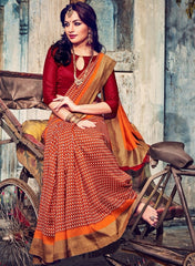 Red Color Bhagalpuri Casual Wear Sarees : Kuhu Collection  YF-33128
