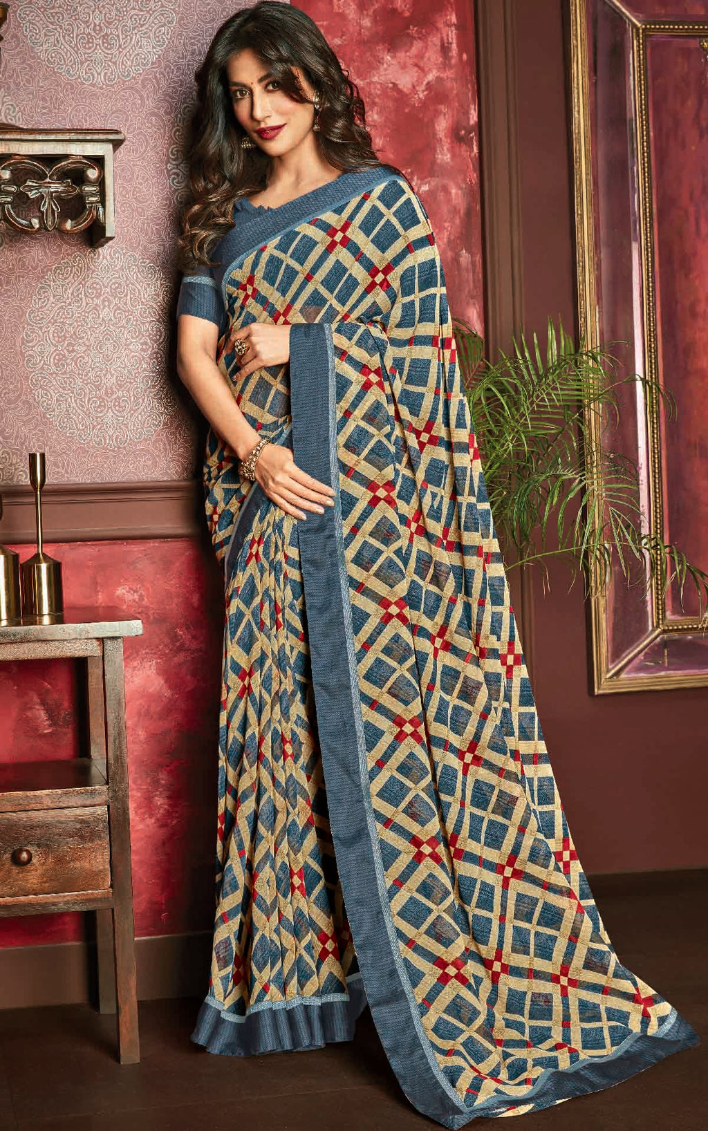 Cream & Blue Color Georgette Printed Sarees For Casual Parties NYF-6384