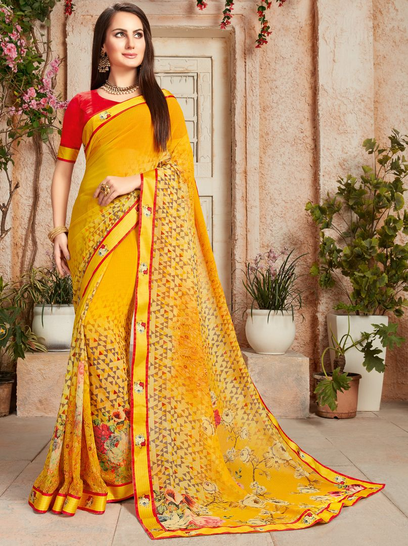 Yellow Color Chiffon Designer Kitty Party Sarees : Alekhya Collection  NYF-3102 - YellowFashion.in