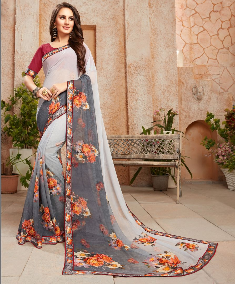 Light & Dark Grey Color Chiffon Designer Kitty Party Sarees : Alekhya Collection  NYF-3103 - YellowFashion.in