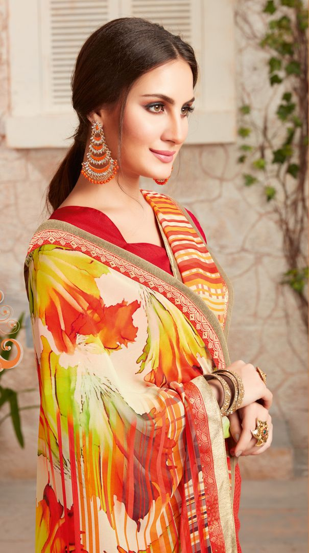 Orange Color Chiffon Designer Kitty Party Sarees : Alekhya Collection  NYF-3104 - YellowFashion.in