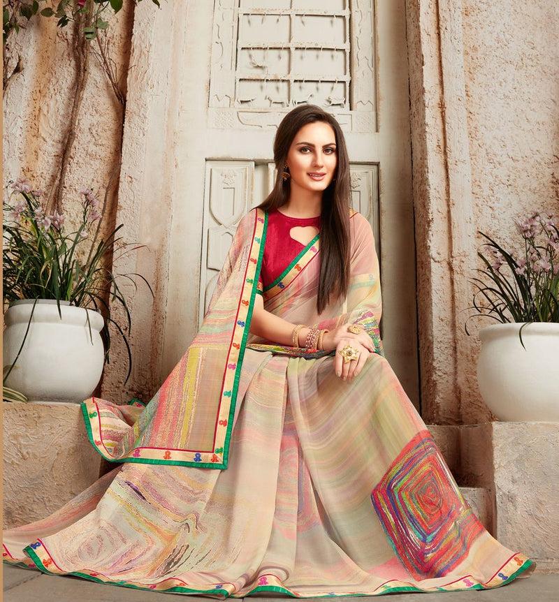 Multi Color Chiffon Designer Kitty Party Sarees : Alekhya Collection  NYF-3105 - YellowFashion.in
