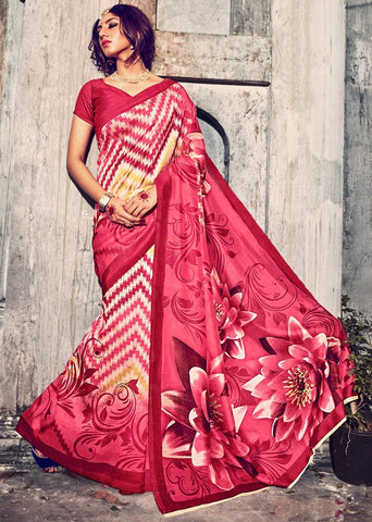 Pink Color Bhagalpuri Casual Wear Sarees : Kuhu Collection  YF-33131