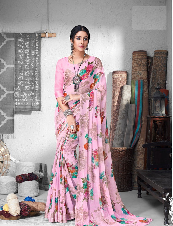 Pink Color Chiffon Satin Border Casual Wear saree -  Sejal Collection YF#10212