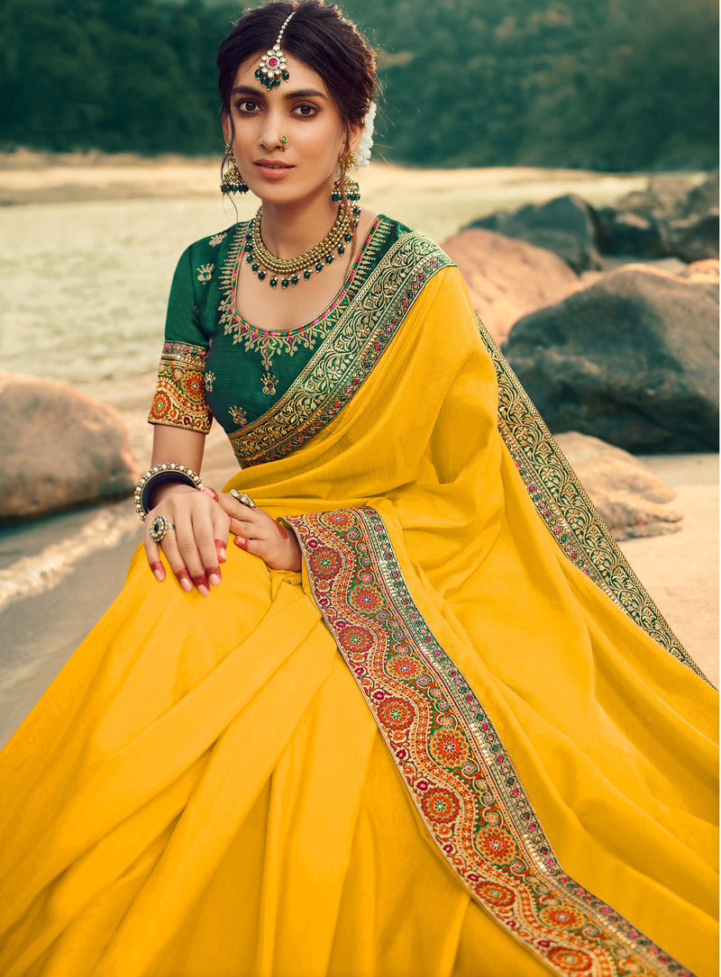 Yellow Color Dola Silk Plain Sarees With Heavy Border NYF-9581