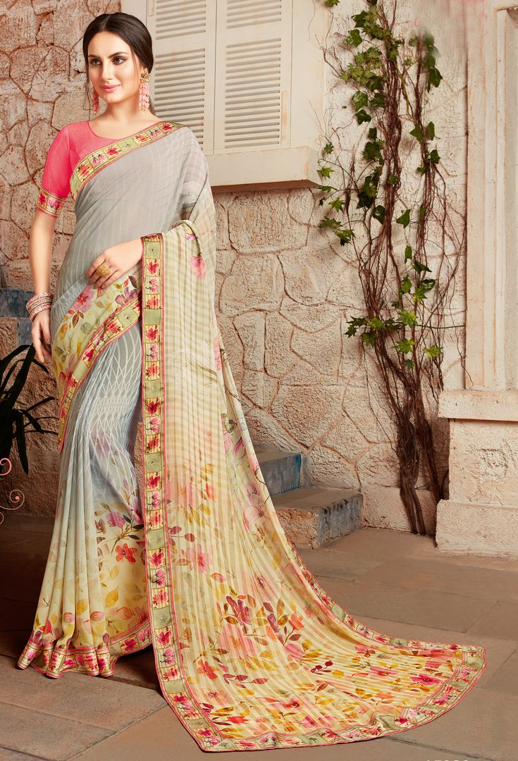 Grey Color Chiffon Designer Kitty Party Sarees : Alekhya Collection  NYF-3107 - YellowFashion.in