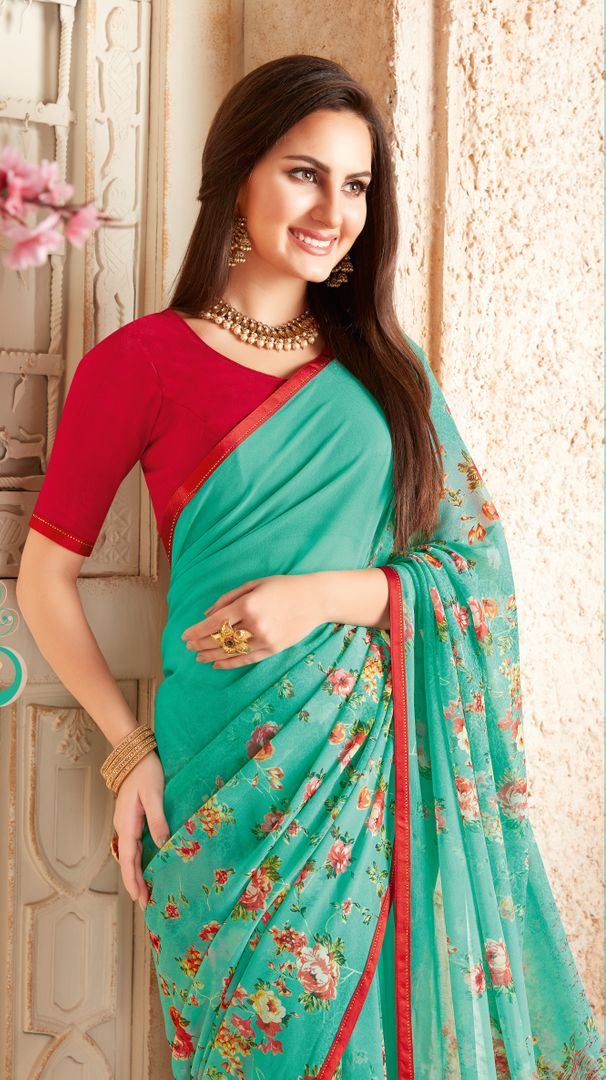 Sea Green Color Georgette Designer Kitty Party Sarees : Alekhya Collection  NYF-3108 - YellowFashion.in
