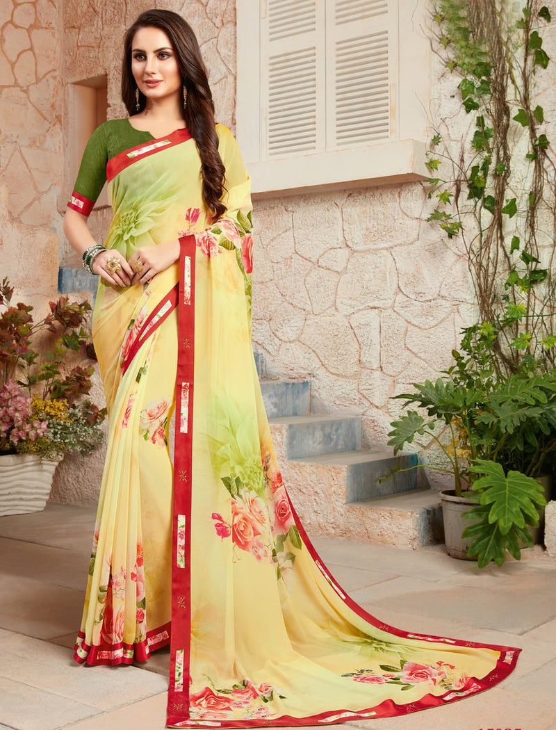 Lemon Yellow Color Georgette Designer Kitty Party Sarees : Alekhya Collection  NYF-3109 - YellowFashion.in